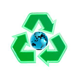Recycling Sign. Green translucent recycling symbol with the Earth globe in the centre. 3D illustration isolated on white background Stock Photography