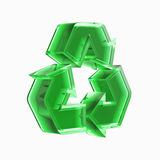 Recycling Sign. Green translucent recycling sign 3D illustration isolated on white background Stock Photo