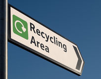 Recycling Sign. Sign to recycling area against blue sky royalty free stock photos