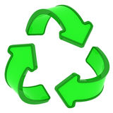 Recycling sign. Circle of three green arrows, recycling sign Stock Photo