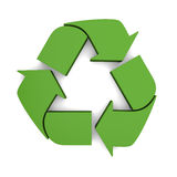 Recycling sign. Green recycling sign in three dimensional shape  on white background Royalty Free Stock Images