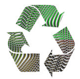 Recycling sign. With black turning green in dots Royalty Free Stock Photos