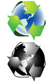 Recycling sign. Illustration of recycling sign, green, black Royalty Free Stock Image