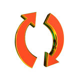 Recycling sign. 3D rendering in orange and gold color Royalty Free Stock Image