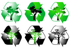 Recycling sign. Illustration of recycling sign and tree Stock Image