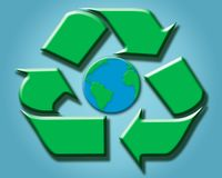 Recycling sign around world Royalty Free Stock Photo
