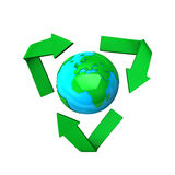 Recycling sign around world Royalty Free Stock Photography