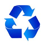 Recycling Sign In Blue. Recycling Sign In Light And Dark Blue On A White Background royalty free illustration