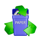 Recycling sign and container. Recycling sign and a container with waste paper. 3D rendering Royalty Free Stock Image
