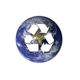 Recycling sign with earth Royalty Free Stock Photos