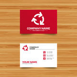 Recycling sign icon. Reuse or reduce symbol. Business card template. Recycling sign icon. Reuse or reduce symbol.. Phone, globe and pointer icons. Visiting card Stock Photo