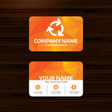 Recycling sign icon. Reuse or reduce symbol. Business or visiting card template. Recycling sign icon. Reuse or reduce symbol.. Phone, globe and pointer icons Royalty Free Stock Photo
