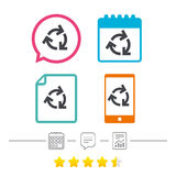Recycling sign icon. Reuse or reduce symbol. Calendar, chat speech bubble and report linear icons. Star vote ranking. Vector Royalty Free Stock Photos