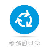 Recycling sign icon. Reuse or reduce symbol. Copy files, chat speech bubble and chart web icons. Vector Stock Image