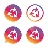 Recycling sign icon. Reuse or reduce symbol. Gradient buttons with flat icon. Speech bubble sign. Vector Stock Photos