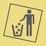 Recycling sign icon. On the yellow background. Vector illustration Stock Image