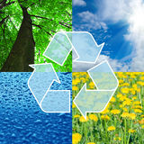 Recycling sign with images of nature - eco concept. Background Stock Photo