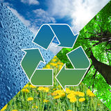Recycling sign with images of nature - eco concept Stock Photos