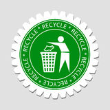 Recycling Sign Label. Recycling Human Sign Green Label Royalty Free Stock Image
