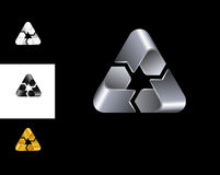 Recycling sign logo design template black white gold silver Royalty Free Stock Images