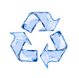 Recycling sign made of water splashes isolated on white. Background Stock Photos