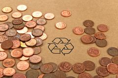 Recycling sign and money Royalty Free Stock Photography