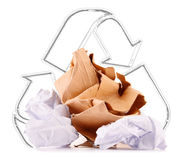 Recycling sign and paper on white Royalty Free Stock Images