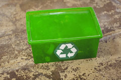 Recycling sign on plastic box Royalty Free Stock Image