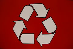 A recycling sign in red Stock Photo