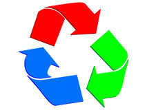 Recycling sign with RGB colors Royalty Free Stock Photography