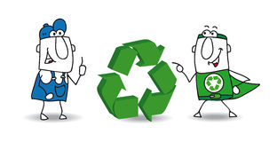 The recycling sign. The super ecology warrior and a worker with a three dimensional eco sign. They want to find a solution for recycling the wastes of their Stock Photos