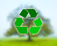 Recycling sign with tree Royalty Free Stock Images
