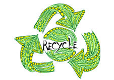 Recycling sign. On a white background Royalty Free Stock Photography