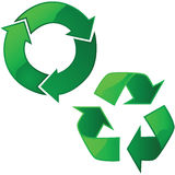 Recycling signs. Illustration of two glossy recycling signs Stock Image