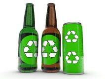 Recycling signs on bottles and can Stock Images