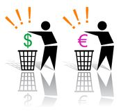 Recycling signs and money Royalty Free Stock Photos