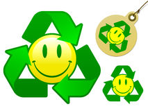 Recycling smiley icon collection. Recycling smiley face icon collection vector illustration