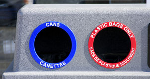 Recycle sorting bins. Containers for sorting and recycling metal and plastics stock image