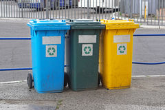 Recycling sorting. Three plastic recycling and sorting bins royalty free stock photography