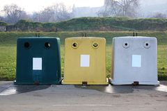 Recycling Sorting. Three Plastic Containers for Recycling and Sorting Waste stock photos