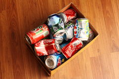 Recycling Starts from Home. A box of aluminium can lying on the floor. A good habitual method to teach the house hold members to understand the importance of Stock Photography