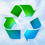Recycling symbol. Plastic green blue recycle sign with sky background Stock Illustration