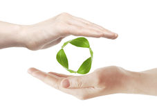 Recycling symbol. Woman showing the icon / symbol for recycling Royalty Free Stock Photos