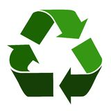 Recycling symbol. Three colours of green conceptual recycling symbol Stock Images