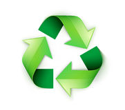 Recycling symbol. Vector illustration of green recycling symbol isolated on white background Stock Image