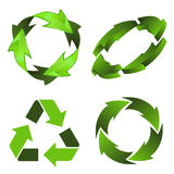 Recycling Symbol. Set Environmental and Recycling 3D Icon isolated on white background, vector illustration Royalty Free Stock Photos