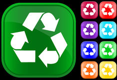 Recycling symbol. Icon of recycling symbol on shiny square buttons Royalty Free Stock Photos