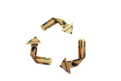 Recycling symbol. Recycling saves money shown by symbol as money Stock Images