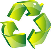 Recycling symbol. Shiny recycling symbol isolated on white background Royalty Free Stock Photos