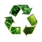 Recycling symbol. Conceptual recycling symbol with green leaves